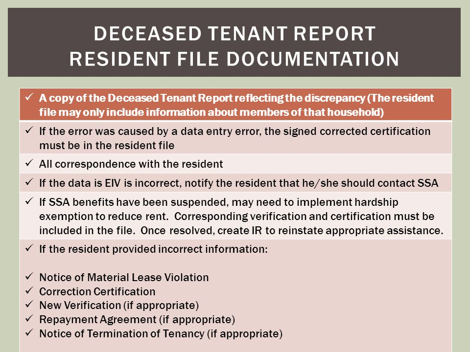 Deceased tenant report resident file documentation