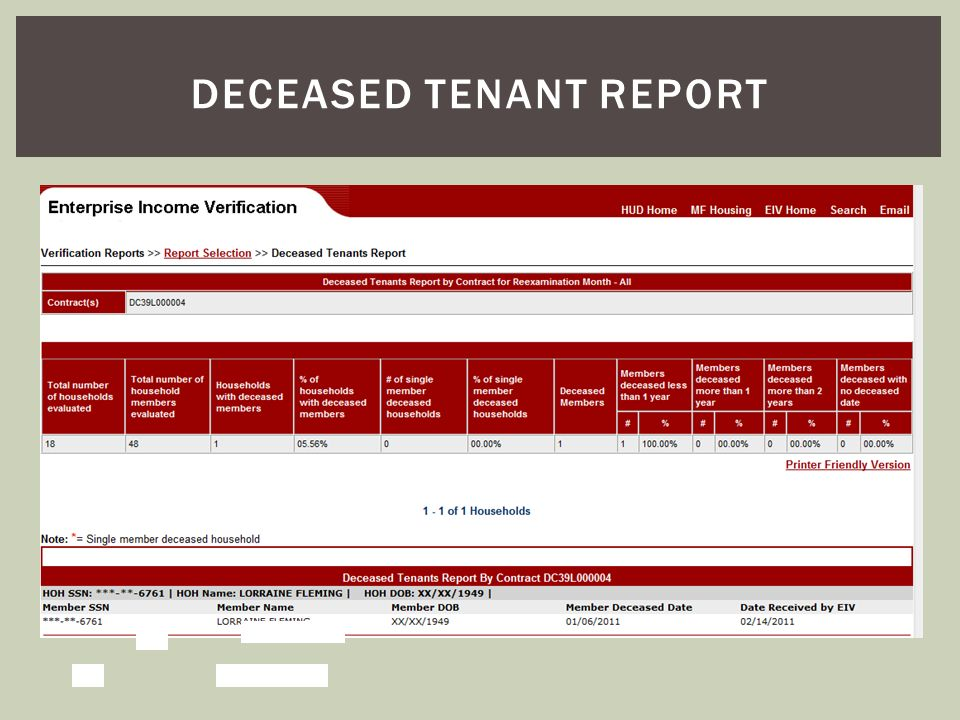 Deceased tenant report