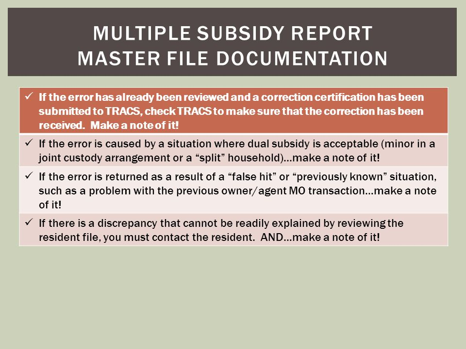 Multiple subsidy report master file documentation