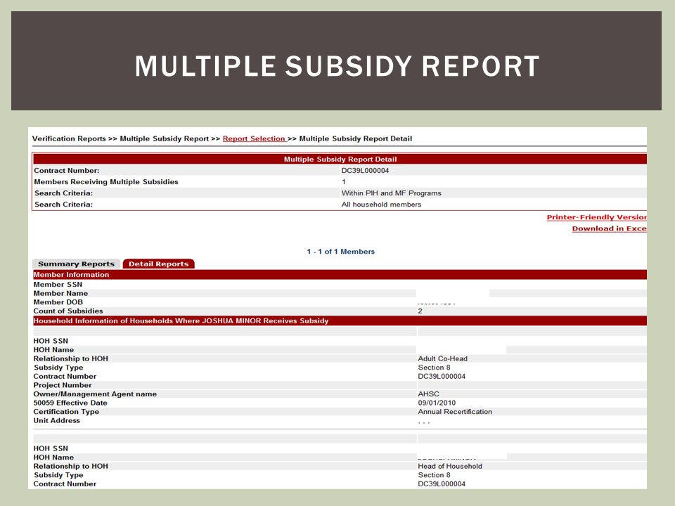 Multiple subsidy report