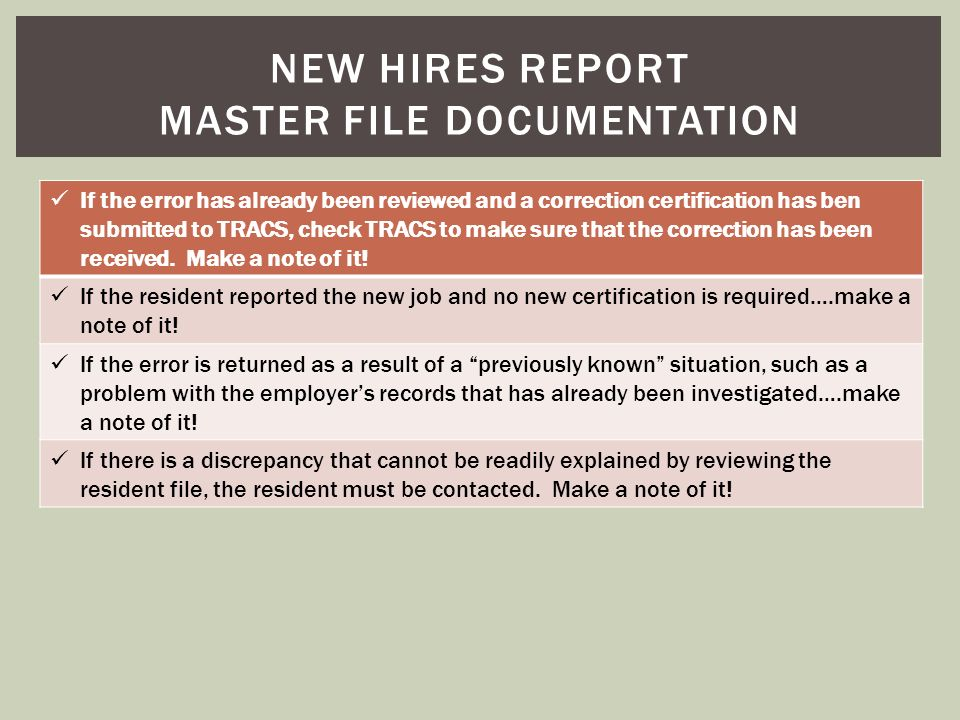 New hires report master file documentation
