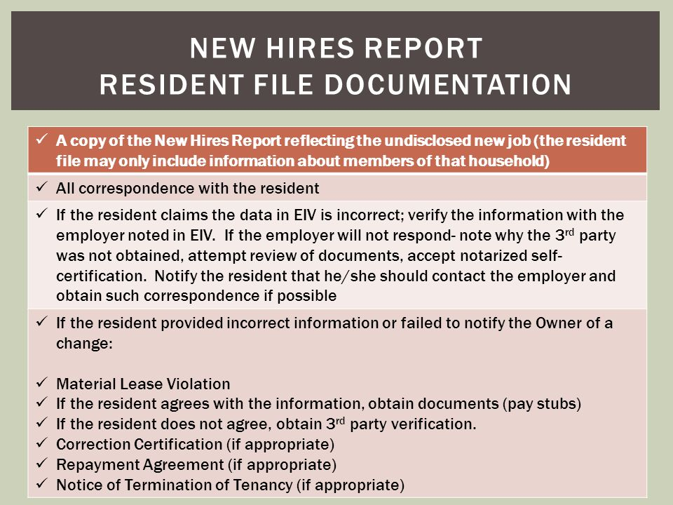 New hires report resident file documentation