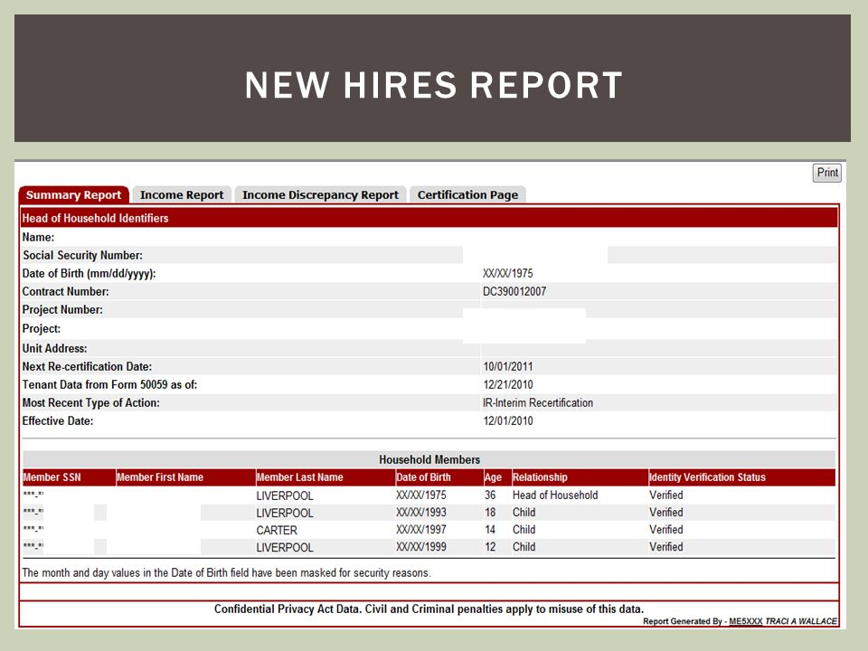 New hires report