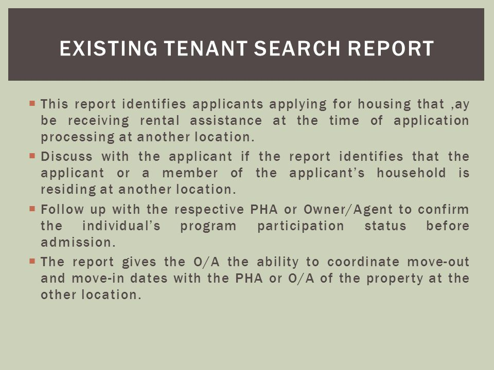 Existing tenant search report