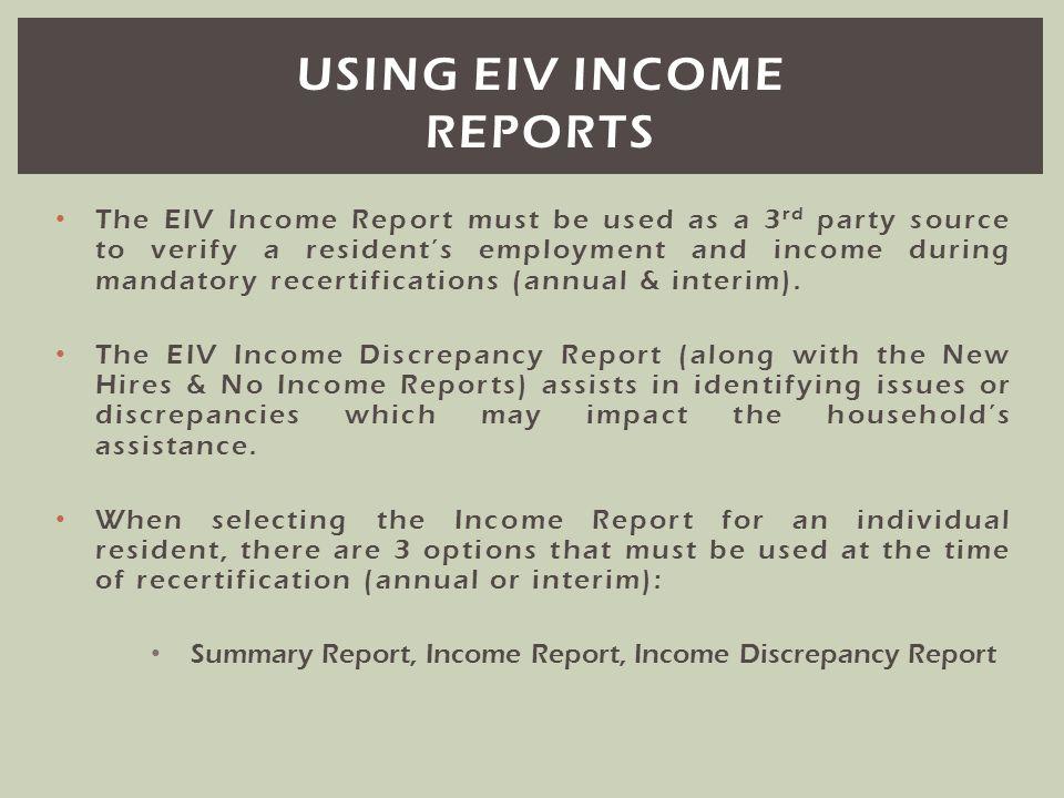 Using eiv income reports