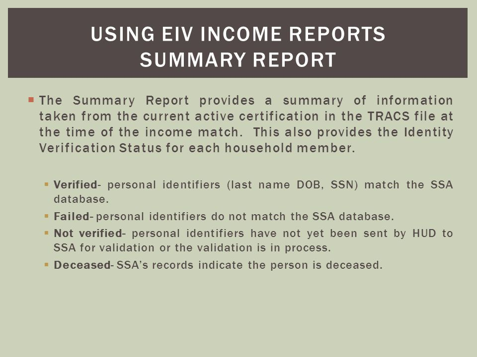 Using eiv income reports summary report