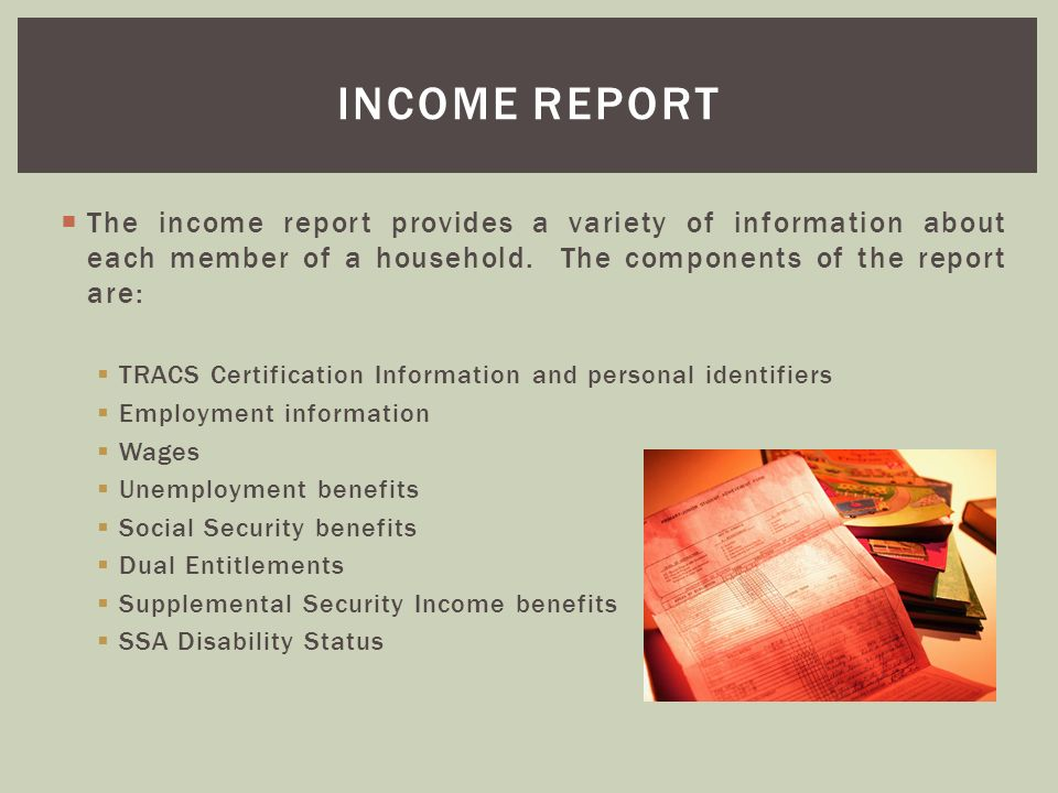 Income report The income report provides a variety of information about each member of a household. The components of the report are: