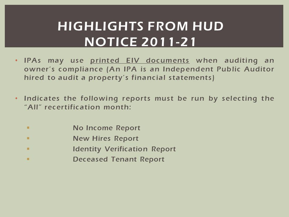 Highlights from hud notice 2011-21