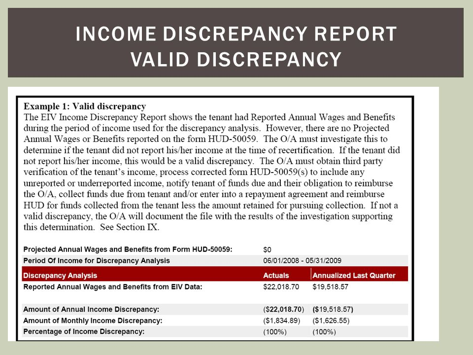 Income discrepancy report valid discrepancy