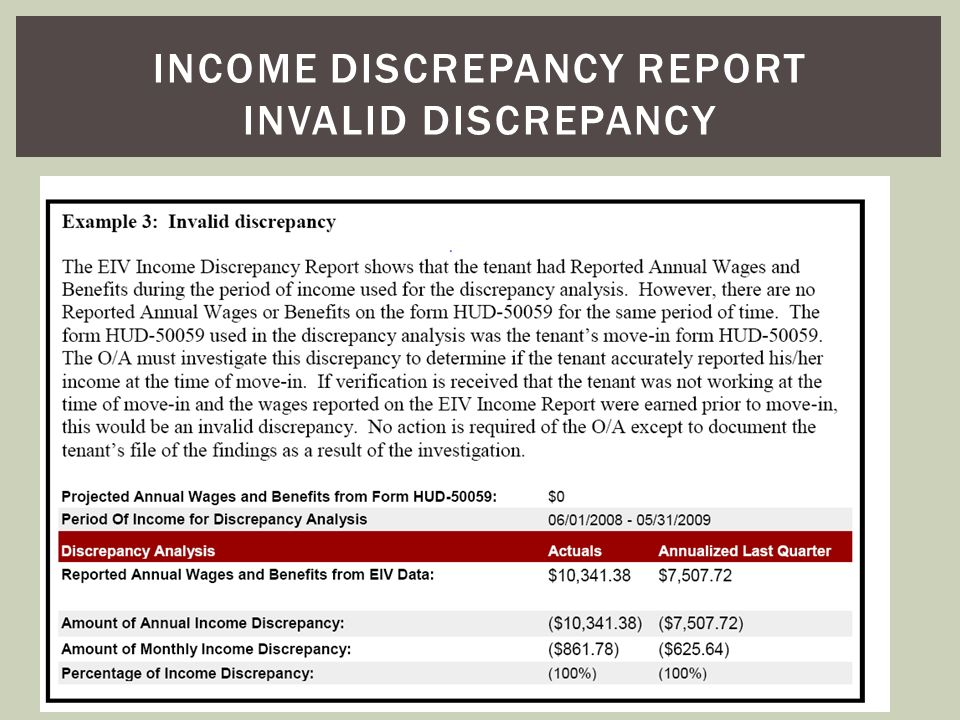 Income discrepancy report invalid discrepancy