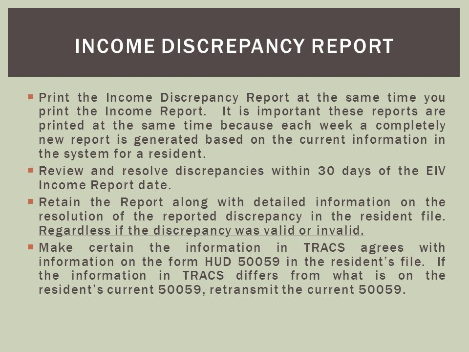 Income discrepancy report