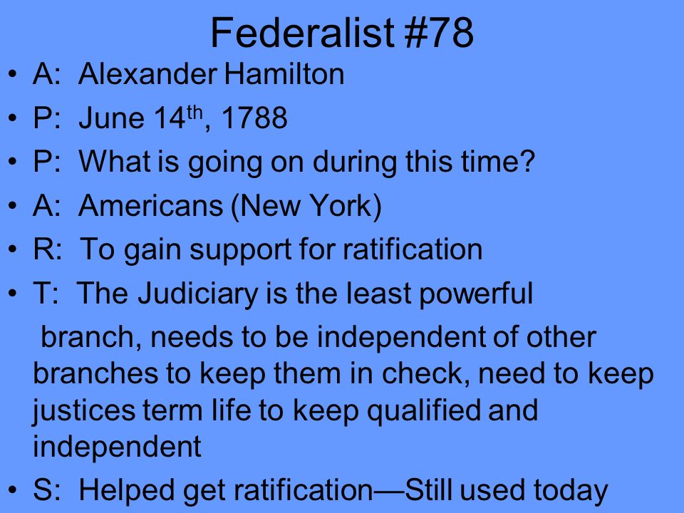 federalist essay number 78 Provided to youtube by tunecore federalist papers - 78 alexander hamilton federalist papers ℗ 2010 bn publishing released on: 2010-11-15 auto-generated by youtube.