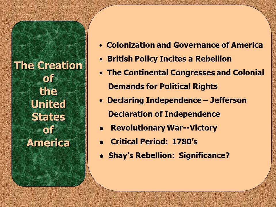 The creation of the constitution of the united states of america