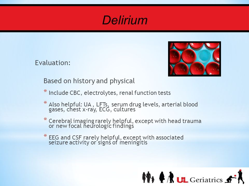 delirium risk factors symptoms prevention and treatment The goal of treatment is to address the cause of delirium when possible  risk  factors — certain underlying conditions increase the risk of delirium:  delirium  is not a disease, but rather a group of symptoms  health, prevent additional  complications, and to avoid those factors that can aggravate delirium.