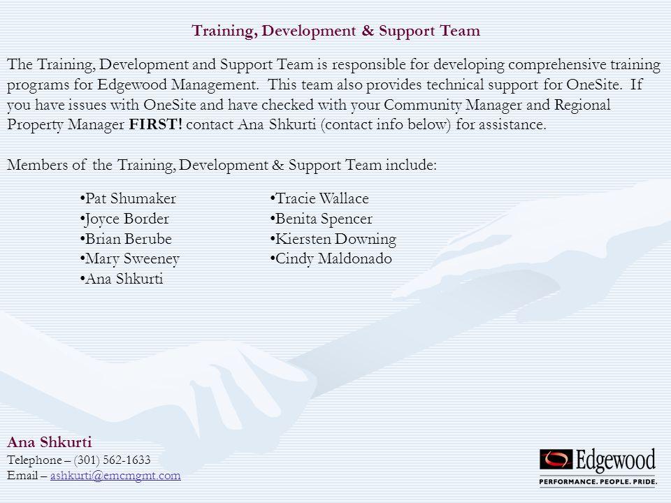 Training, Development & Support Team