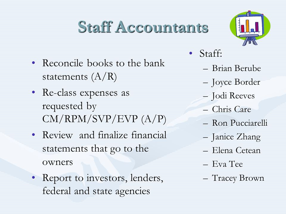 Staff Accountants Staff: Reconcile books to the bank statements (A/R)