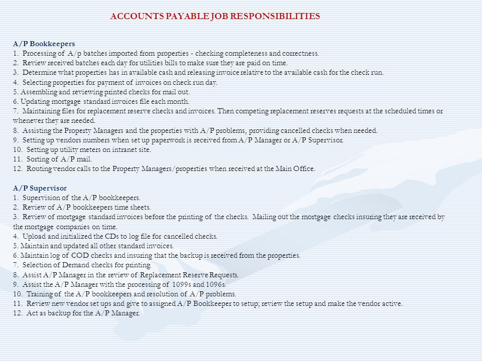 ACCOUNTS PAYABLE JOB RESPONSIBILITIES