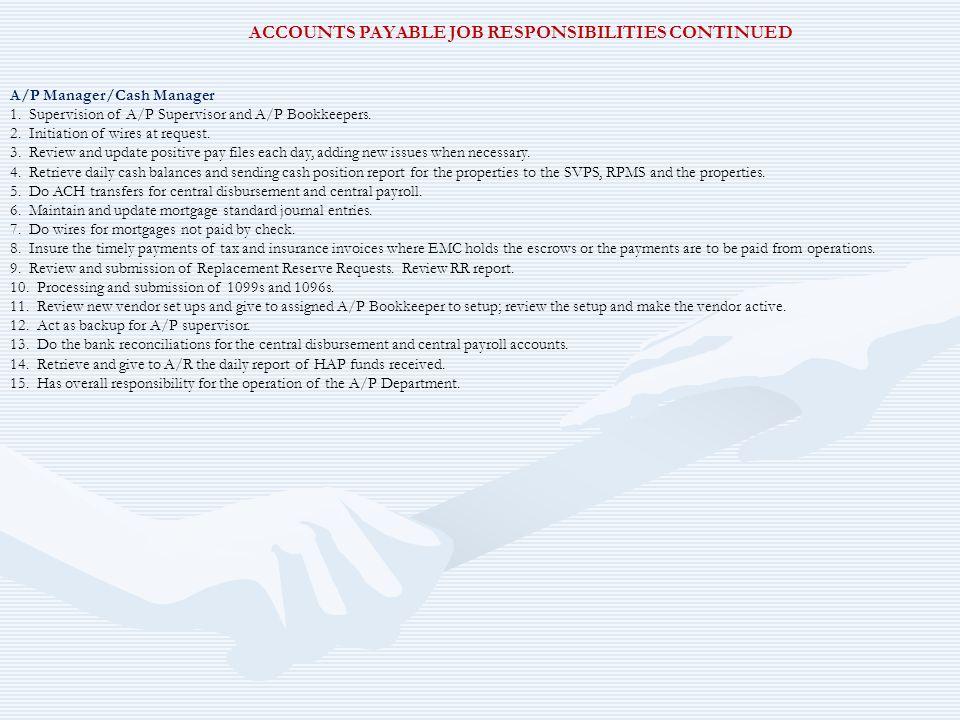 ACCOUNTS PAYABLE JOB RESPONSIBILITIES CONTINUED
