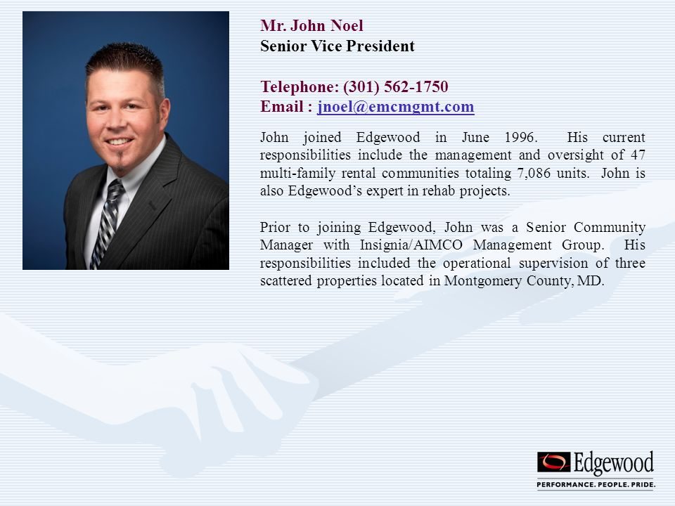 Mr. John Noel Senior Vice President Telephone: (301) 562-1750