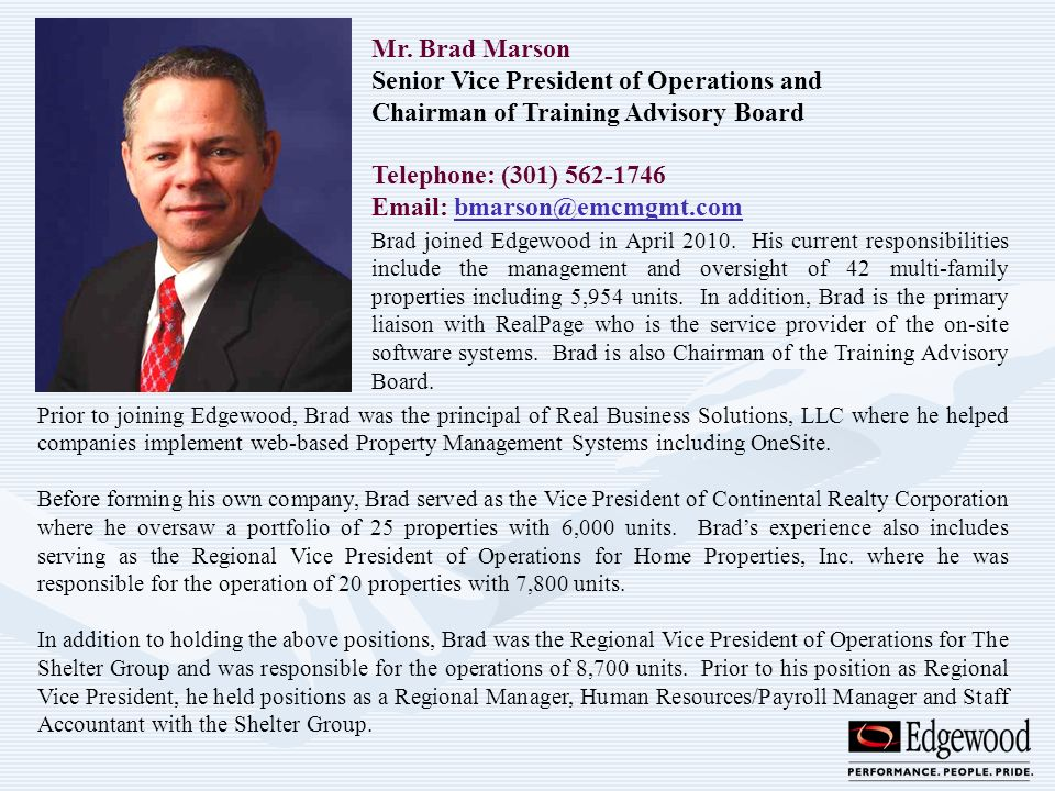Senior Vice President of Operations and