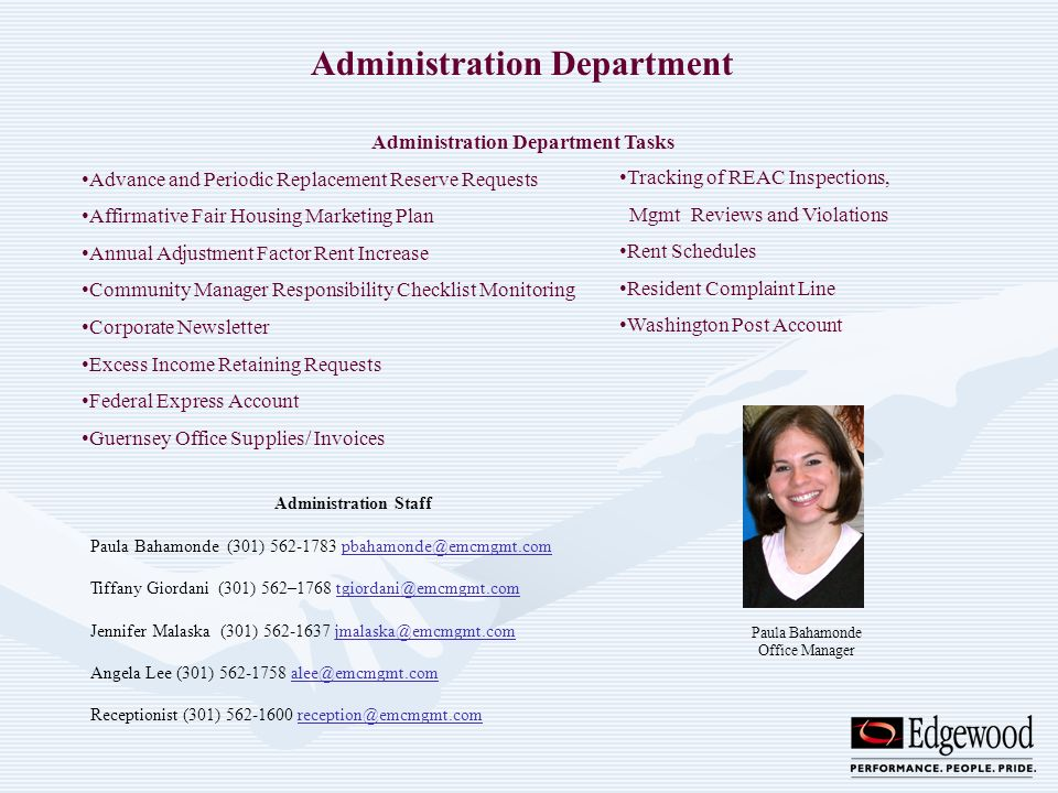 Administration Department Tasks