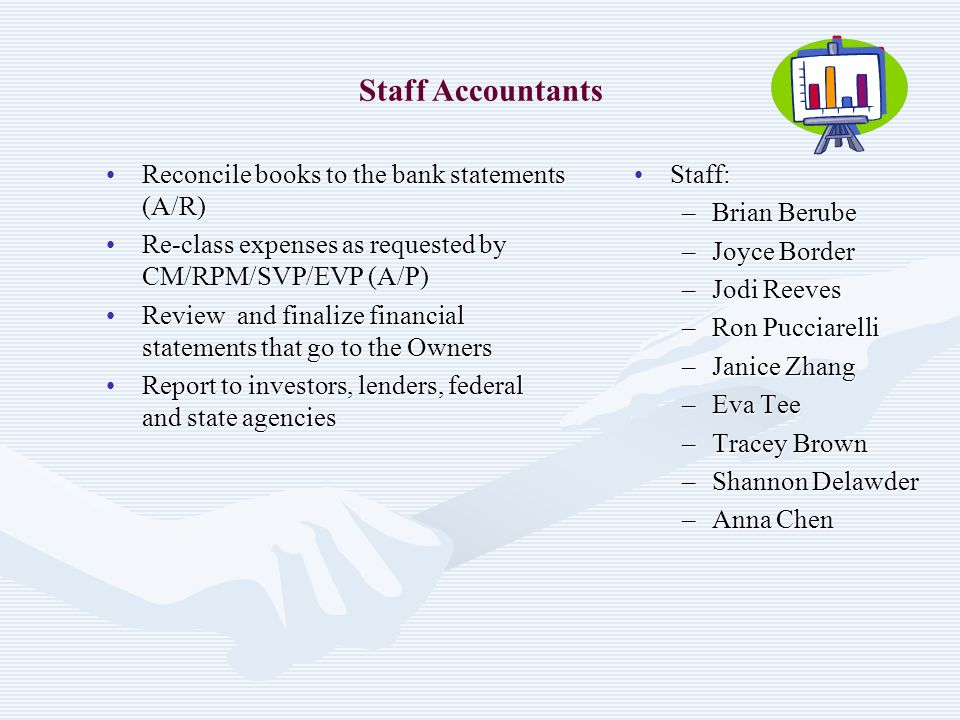 Staff Accountants Reconcile books to the bank statements (A/R)