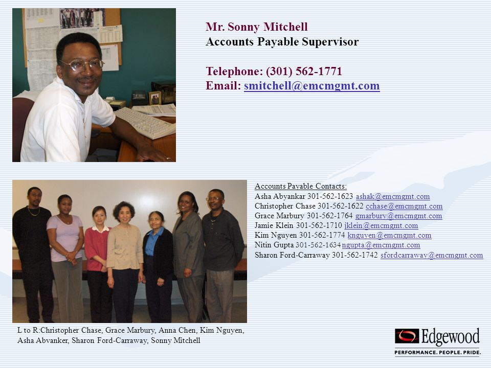 Accounts Payable Supervisor Telephone: (301) 562-1771