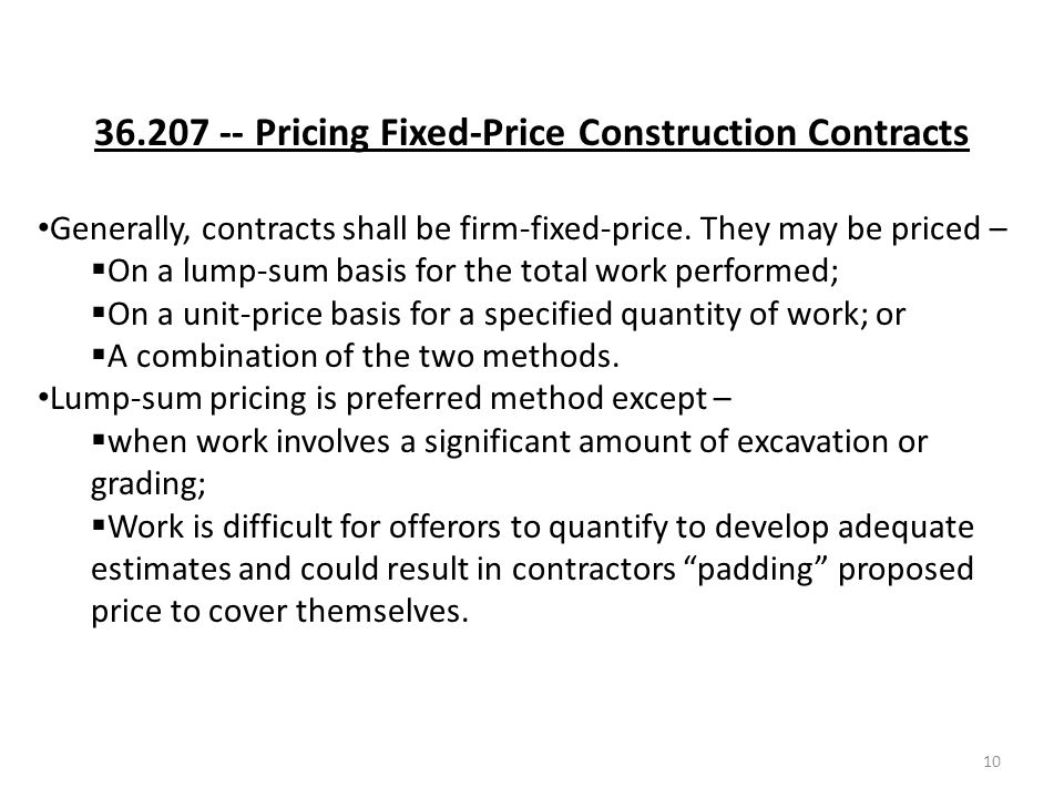 Far part 36 construction and architect engineer contracts for Fixed price construction contract