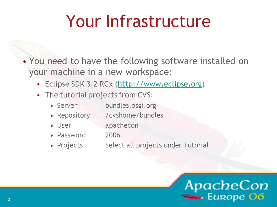 Your Infrastructure You need to have the following software installed on your machine in a new workspace: