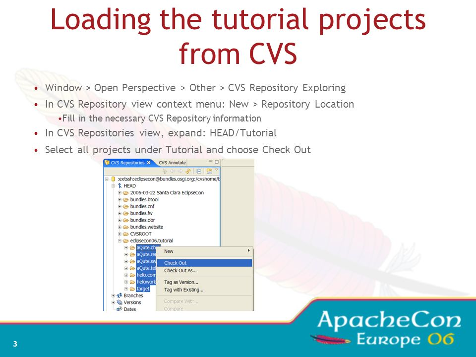 Loading the tutorial projects from CVS