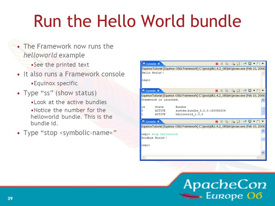 Run the Hello World bundle