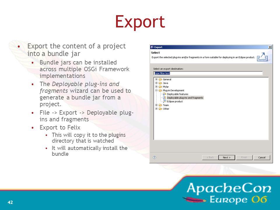 Export Export the content of a project into a bundle jar