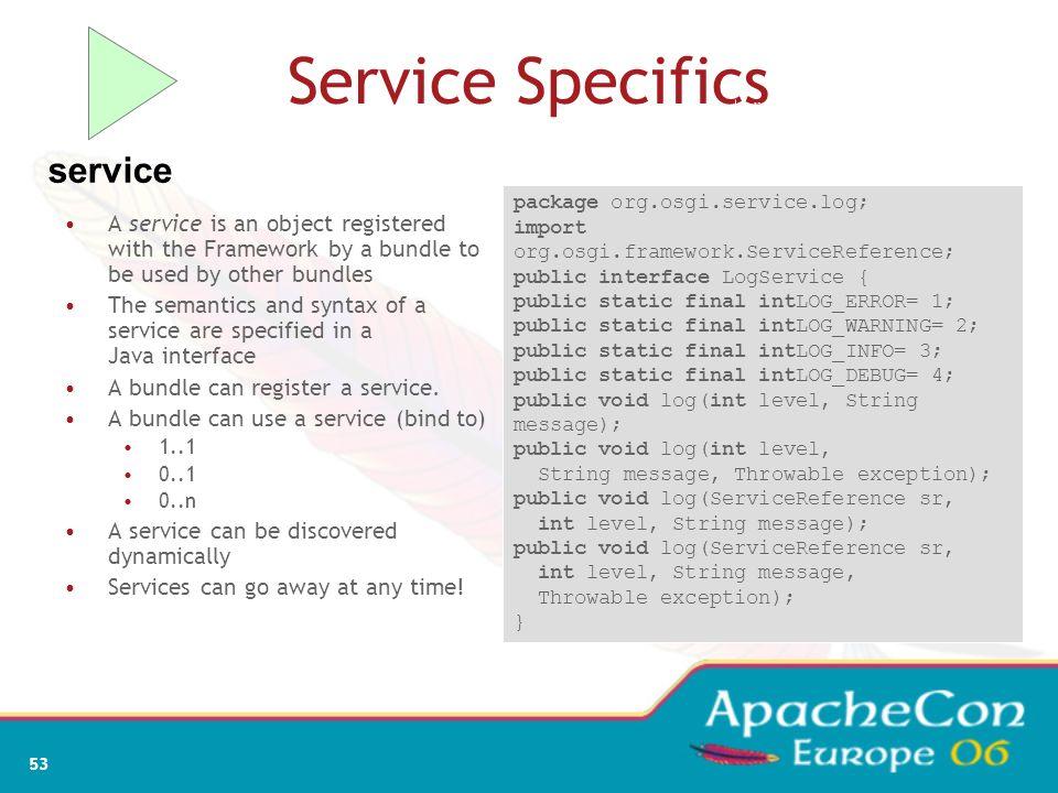 Service Specifics service