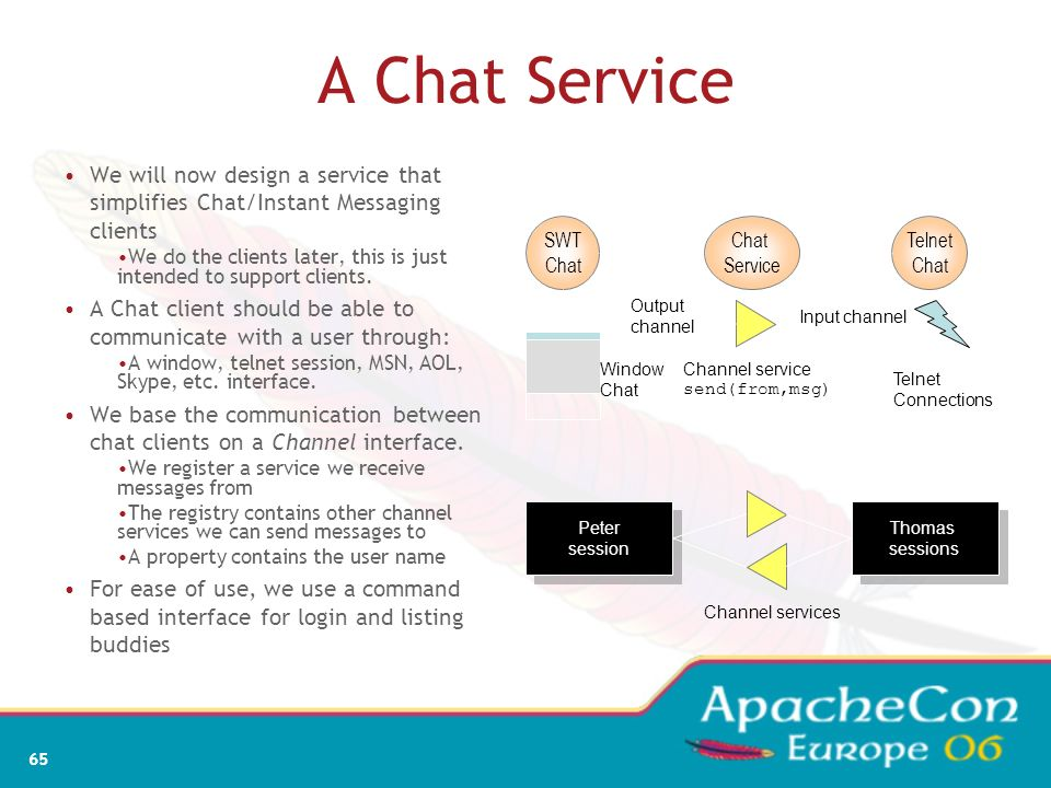 A Chat Service We will now design a service that simplifies Chat/Instant Messaging clients.