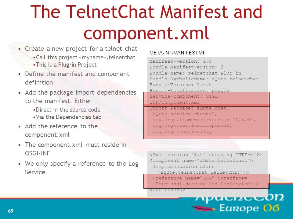 The TelnetChat Manifest and component.xml