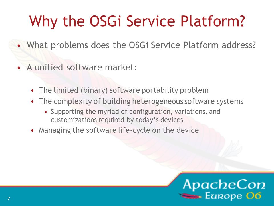 Why the OSGi Service Platform