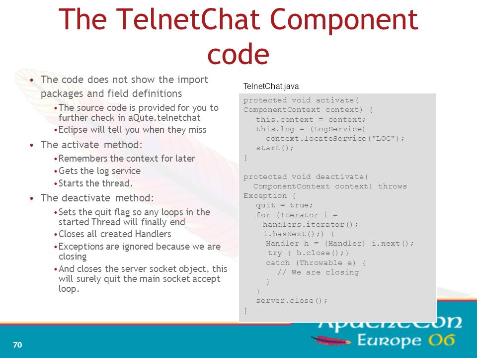 The TelnetChat Component code