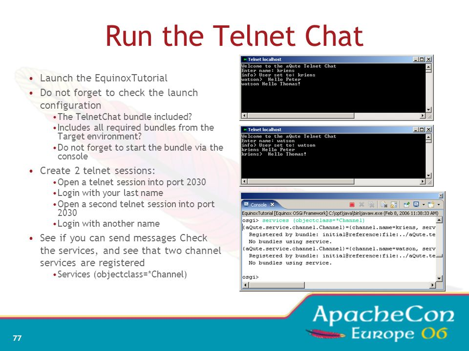 Run the Telnet Chat Launch the EquinoxTutorial