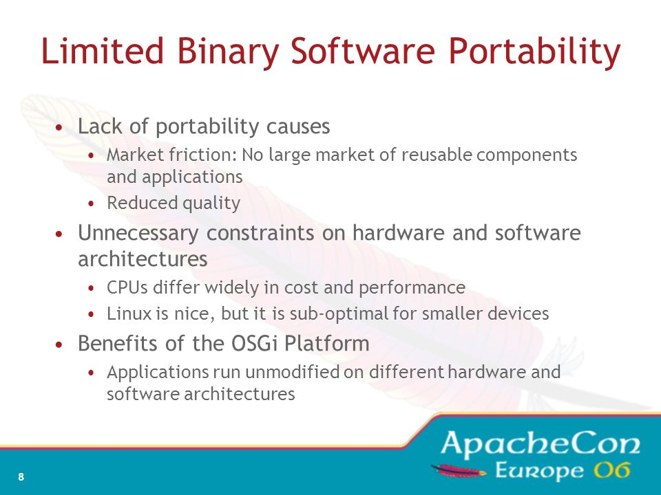 Limited Binary Software Portability