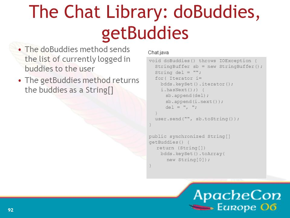 The Chat Library: doBuddies, getBuddies