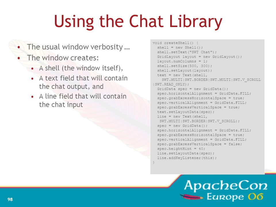 Using the Chat Library The usual window verbosity …