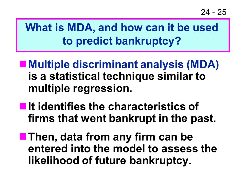 What is MDA, and how can it be used to predict bankruptcy