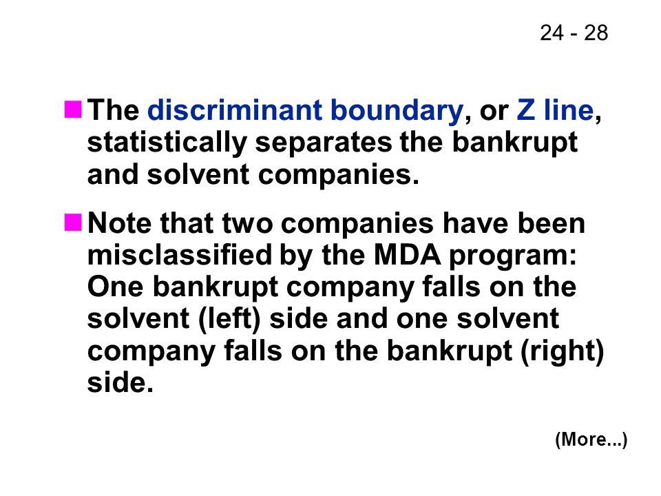 The discriminant boundary, or Z line, statistically separates the bankrupt and solvent companies.