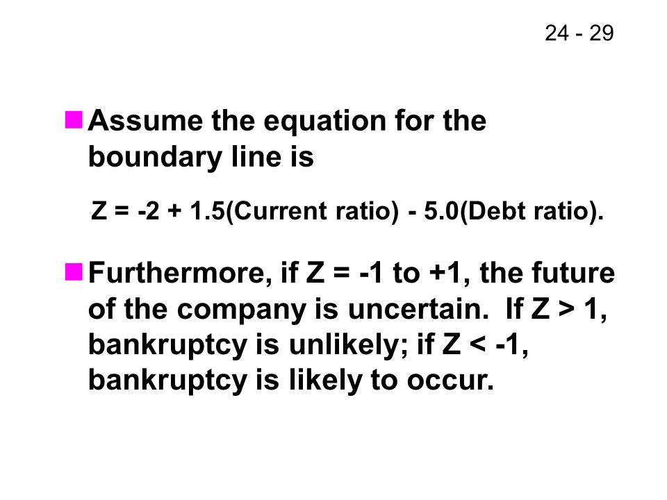 Z = (Current ratio) - 5.0(Debt ratio).
