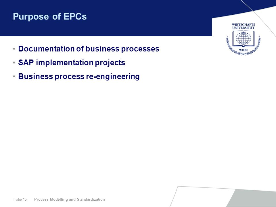 Purpose of EPCs Documentation of business processes
