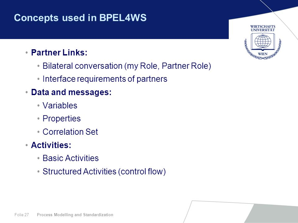 Concepts used in BPEL4WS