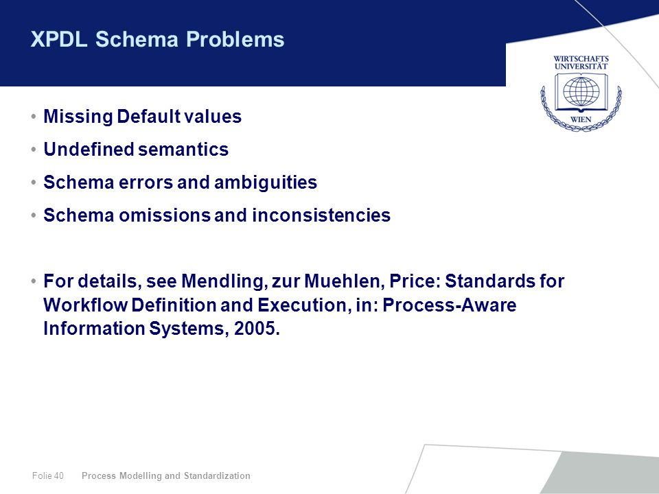 XPDL Schema Problems Missing Default values Undefined semantics