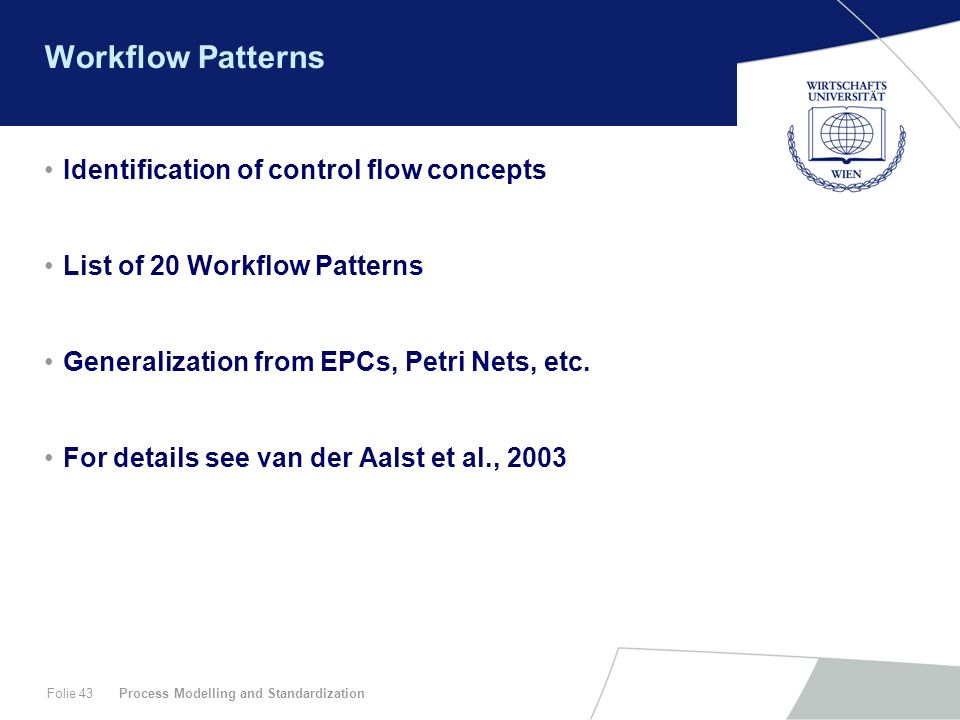 Workflow Patterns Identification of control flow concepts