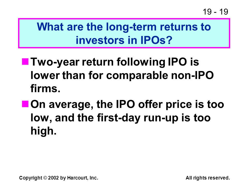 What are the long-term returns to investors in IPOs