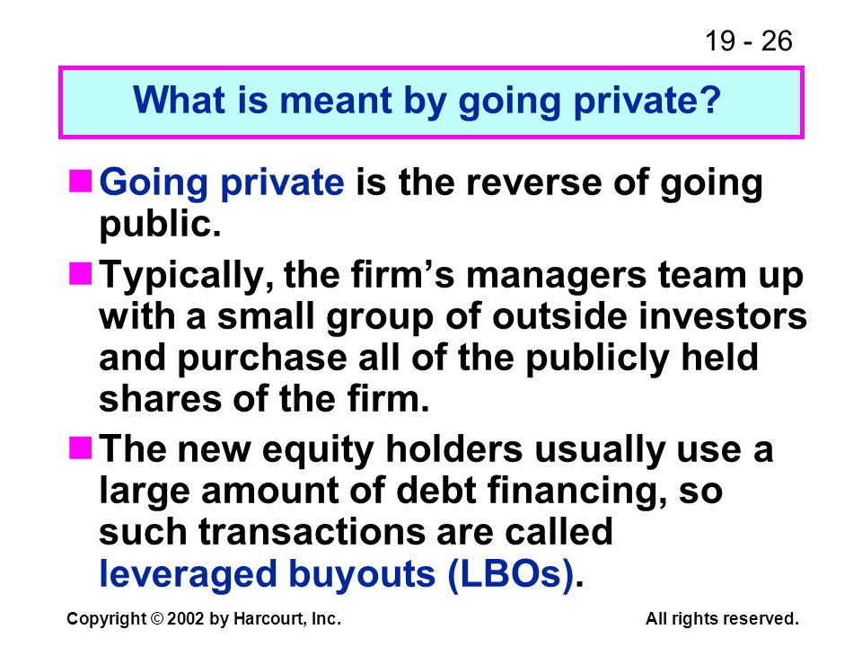 What is meant by going private
